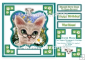 Cat And Mouse - Comical 8 x 8 Card Topper With Decoupage & Tags