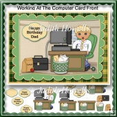 Working At The Computer Card Front