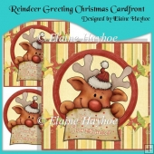 Reindeer Greeting Christmas Cardfront with Decoupage