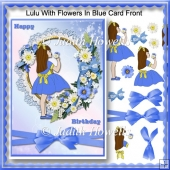 Lulu With Flowers In Blue Card Front