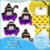 Halloween Black Cat Decoupage Set