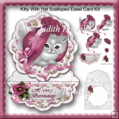 Kitty With Hat Scalloped Easel Card Kit