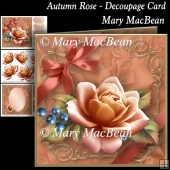 Autumn Rose - Decoupage Card