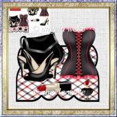 Black and red corset, over the edge card with dcoupage