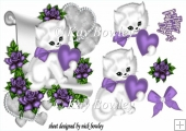 cute kitty lovely purple heart and roses & bow with a scroll