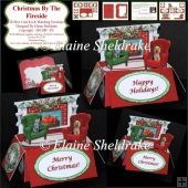 A Dog & Cats Fireside Christmas - 3D Box Card Kit & Matching Env