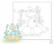Duckie with flowers digital stamp