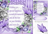 Pretty silver & purple roses with butterflies & verse 8x8