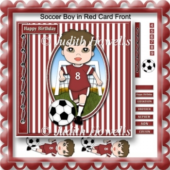 Soccer Boy in Red Card Front