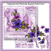 Notecard And Petunias Square Card Front