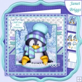 PENGUIN JUST CHILLIN 7.5 Christmas Decoupage & Insert Mini Kit