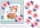 Baby deer and blue bird 7x7 card