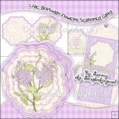 Lilac Birthday Flowers Scalloped Card, Insert & Envelope