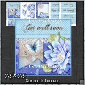 Blue Butterfly Flower Polkadots Card Topper Kit 1425