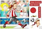 Football Dude Red and White Stripe Christmas 8x8 With Insert