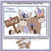 Winter Donkeys Christmas Card Front