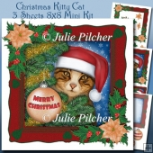 Christmas Kitty Cat - 8x8 Mini Kit with Decoupage - 3 Sheets