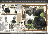 BUTTERFLY BLOSSOMS 4 SHEET MINI KIT Black