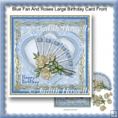 Blue Fan And Roses Large Birthday Card Front