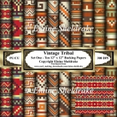 Vintage Tribal Patterns Set One - Ten 12 x 12 Papers