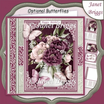 VINTAGE PEONIES & BUTTERFLIES All Occasions Quick Card & Insert