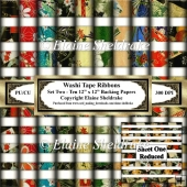 Japanese Washi Paper Ribbon Tapes Set Two Ten Sheets Of 12 x 12