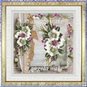white florals 7x7 card with decoupage