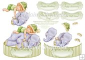 Elephant Dreams Shaped Card Topper With Decoupage