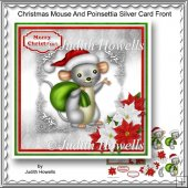 Christmas Mouse And Poinsettia Silver Card Front
