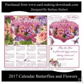 2017 Calendar Butterflies and Flowers
