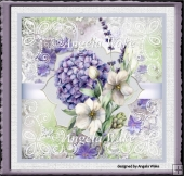 Purple flowers, pearls and lace 7x7 card
