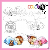 Sleeping babies and sentiment Digi stamps