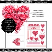 Red Heart and Lovebirds 3D Layer Card