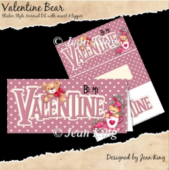 Valentine Bear Sticker Style DL Card Front