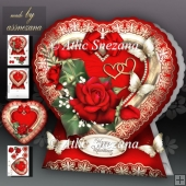Valentine Heart with Red Roses Card Kit