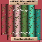 Dainty Holly & Stars Backing Papers