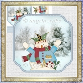 Joy snowman shaped card front with decoupage