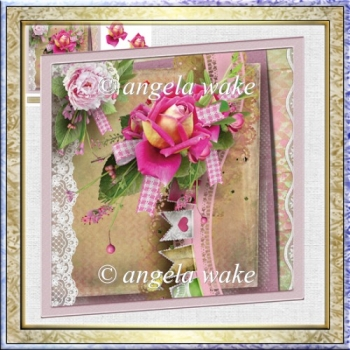 Pink tea rose 7x7 card and decoupage