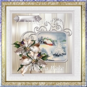 Vintage Christmas 7x7 card with decoupage