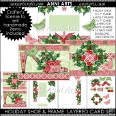 HOLIDAY SHOE AND HOLLY FRAME LAYERED CARD SET