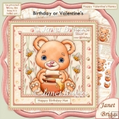 Bees to the Honey Pot 8x8 Birthday Valentine's Decoupage Kit