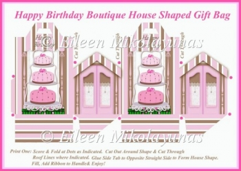 Happy Birthday Boutique House Shaped Gift Favor Bag Directions
