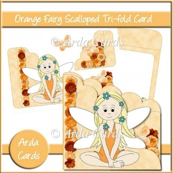 Orange Fairy Scalloped Trifold Card