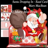 Santa Dropping In - Easel Card
