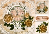 Nearly Midnight! pretty clock with gold roses 8x8