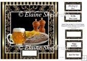"Steak Chips & Beer - 8"" x 8"" Card Topper"