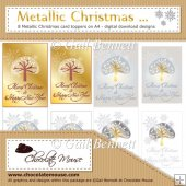 Metallic Christmas - 8 Metallic Digital Design Card Toppers