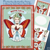 Flutterby Butterfly Fairy ~ 6 x 8 inch Card Kit with decoupage