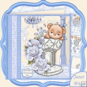 Baptism Bear Christening Day Boy Decoupage Kit