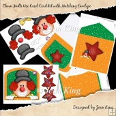 Clown Multi Use Easel Card Kit with Matching Envelope
